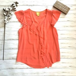 Maeve Dipped Chroma Blouse in Coral